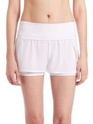 Lanston Sport Fold Over Double Layer Shorts White