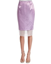 Prabal Gurung Mid Rise Pencil Skirt W Organza Hem Lilac Purple