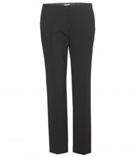 Miu Miu Cropped Wool Blend Trousers Black