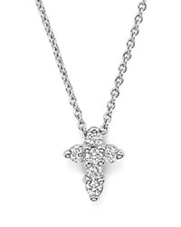 Roberto Coin 18K White Gold Small Cross Pendant Necklace With Diamonds 16