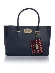 Tommy Hilfiger Turnlock Navy Medium Satchel Bag Navy