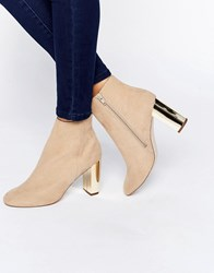 Miss Kg Gold Heeled Boots Nude Beige