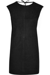 Iro Gamma Open Back Suede Mini Dress Black
