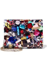 Jimmy Choo Candy Embellished Printed Acrylic Clutch Blue