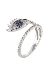 Delfina Delettrez 18Kt White Gold Ring With Diamonds And Sapphires Silver