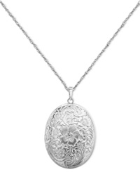 Macy's Sterling Silver Necklace Four Photo Engraved Locket