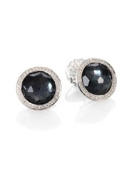 Ippolita Stella Hematite Mother Of Pearl Diamond And Sterling Silver Doublet Stud Earrings Silver Black
