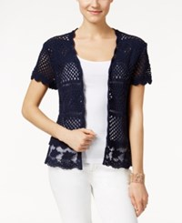 Styleandco. Style And Co. Crochet Shrug Cardigan Only At Macy's Industrial Blue