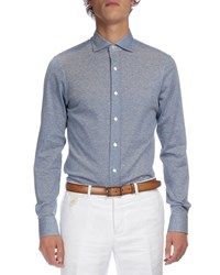 Berluti Melange Textured Button Down Shirt Blue