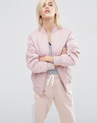 Asos Luxe Matte Satin Bomber Jacket In Diamond Quilt Light Pink
