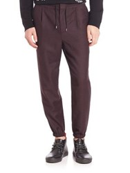 Mcq By Alexander Mcqueen Tailored Wool Blend Track Pants Burgundy