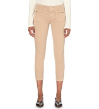 J Brand Talon Cropped Stretch Cotton Twill Trousers Distressed Sand Sky