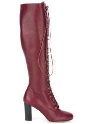 Philosophy Di Lorenzo Serafini Lace Up Knee Length Boots Red