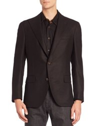 Luciano Barbera Solid Wool Blazer Brown