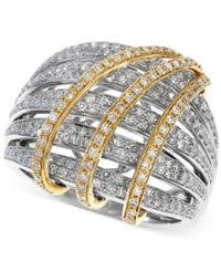 Effy Collection Effy Two Tone Diamond Crossover Ring 1 1 10 Ct. T.W. In 14K Gold No Color