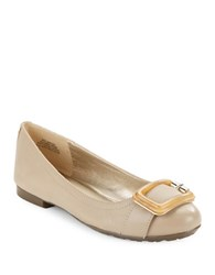 Bandolino Corrado Leather Buckle Flats Light Natural