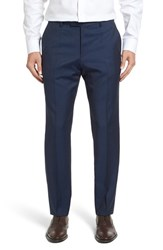 Boss Men's 'Leenon' Flat Front Solid Wool Trousers Dark Blue