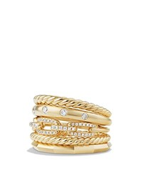 David Yurman Stax Wide Ring With Diamonds In 18K Gold White Gold