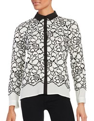 Karl Lagerfeld Floral Lace Overlay Top White Black