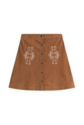 The Kooples Suede Skirt With Embroidery Camel