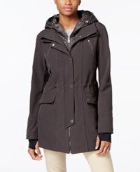 Nautica Quilted Hooded Layered Anorak Raincoat Charcoal
