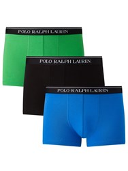 Ralph Lauren Polo Stretch Cotton Trunks Pack Of 3 Green Colby Blue Black Green Colby Blue Black