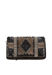 Hallhuber Lavish Embroidery Clutch Black