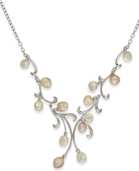 Macy's Pearl Necklace Sterling Silver Keishi Cultured Freshwater Pearl Leaf Necklace