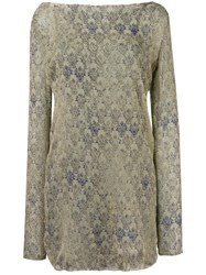 Mes Demoiselles Lace Print Long Sleeve Shift Dress Nude Neutrals