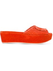 Amelie Pichard Slip On Fuzzy Platform Mules Yellow And Orange