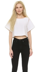 Milly Stretch Angular Crop Top White