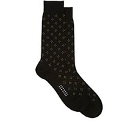 Barneys New York Men's Diamond Pattern Mid Calf Socks Black Blue Black Blue