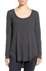 Hinge Women's Shirred Back Thermal Tee Grey Charcoal