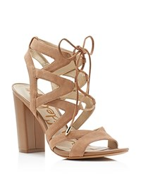 Sam Edelman Yardley Caged Lace Up High Heel Sandals Golden Caramel