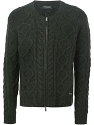 Dsquared2 Cable Knit Cardigan Green