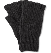 Rag And Bone Kaden Fingerless Ribbed Cashmere Gloves Gray