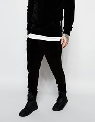 Criminal Damage Velour Joggers Black