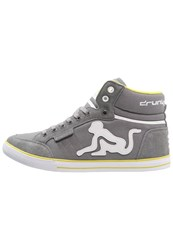 Drunknmunky Boston Classic Hightop Trainers Grey Lime Green