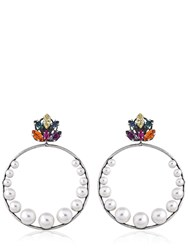 Anton Heunis Crystal Leaf Hoop Earrings
