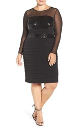London Times Plus Size Women's Illusion And Sequin Detail Shutter Pleat Cocktail Dress