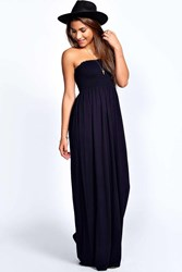 Boohoo Shirred Bandeau Maxi Dress Navy
