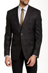 Ike Behar Pandora Plaid Two Button Notch Lapel Wool Suit Separates Jacket Brown