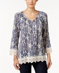 Styleandco. Style Co. Printed Crochet Trim Top Only At Macy's Denim Ikat