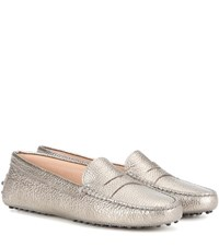 Tod's Gommini Metallic Leather Loafers Gold