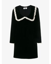 Saint Laurent Babydoll Dress With Oversized Collar Black White