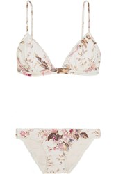 Zimmermann Eden Floral Print Triangle Bikini Off White Antique Rose