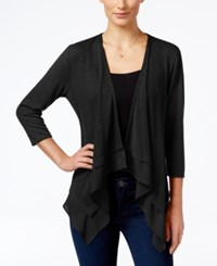 Ny Collection Petite Waterfall Cardigan Black
