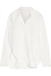 Dion Lee Draped Pinstriped Cotton Poplin Shirt White