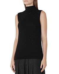 Reiss Faith Sparkle Knit Sleeveless Sweater Black
