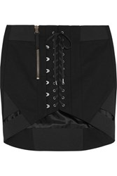 Anthony Vaccarello Cotton Mini Skirt Black